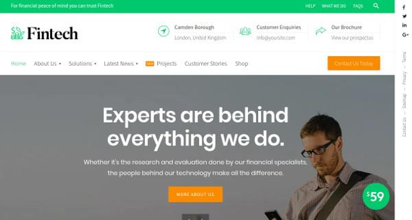 fintech fully customizable wordpress theme