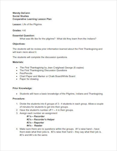 first thanksgiving cooperative lesson plan