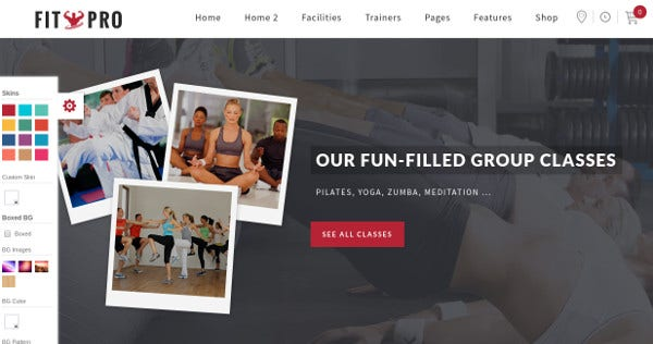 fitpro integrated wordpress theme