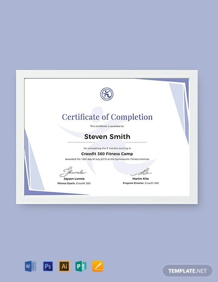 fitness training completion certificate sample