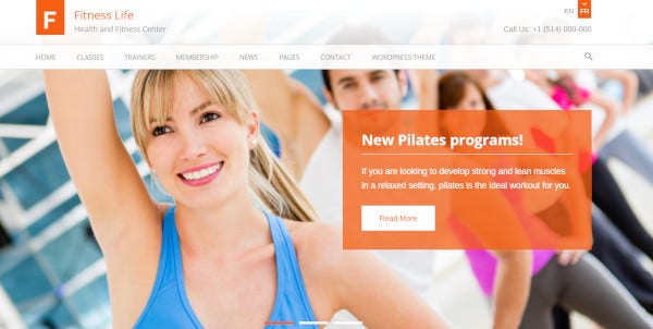 fitnesslife custom wordpress theme