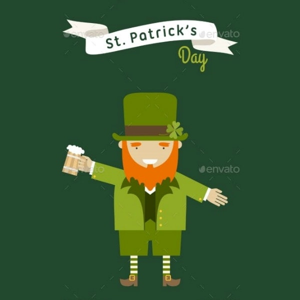 flat leprechaun st patricks card template