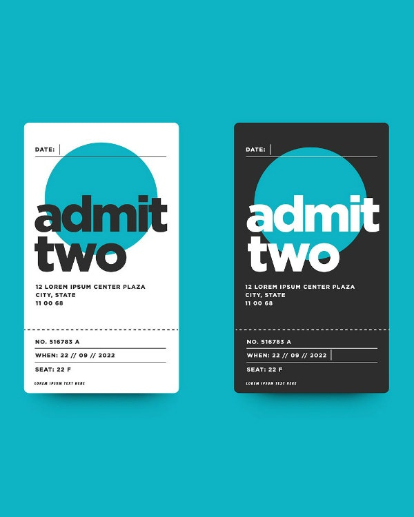 Flat Simple Admission Ticket Layout