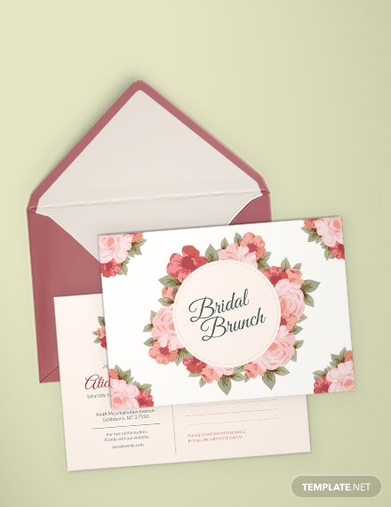 floral bridal shower invitation postcard template