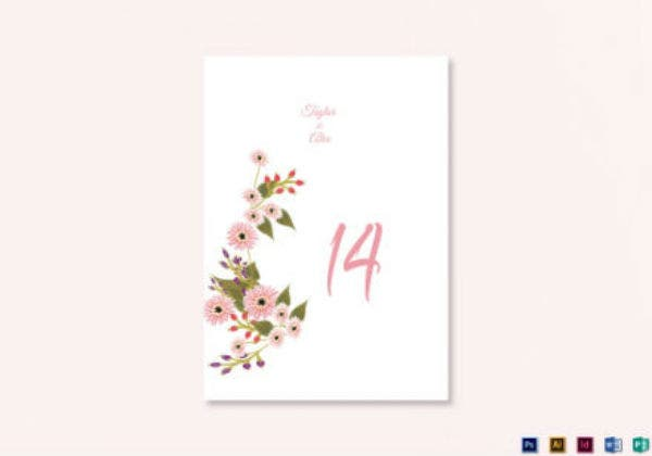 floral wedding table number card template