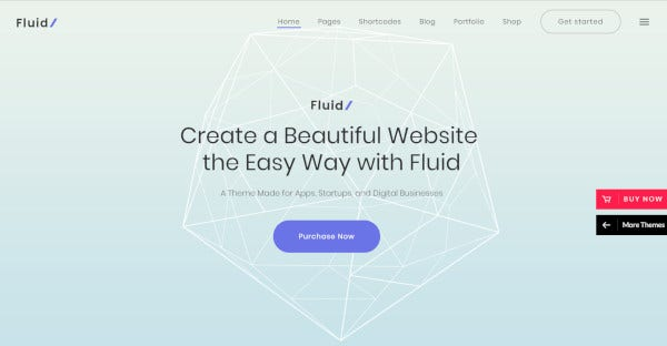 fluid business and apps wordpress theme