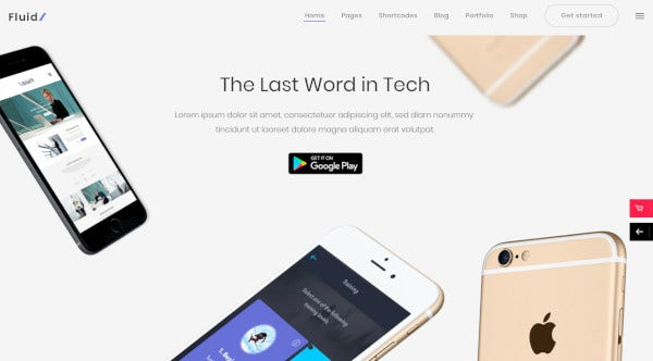 fluid wordpress theme for startups