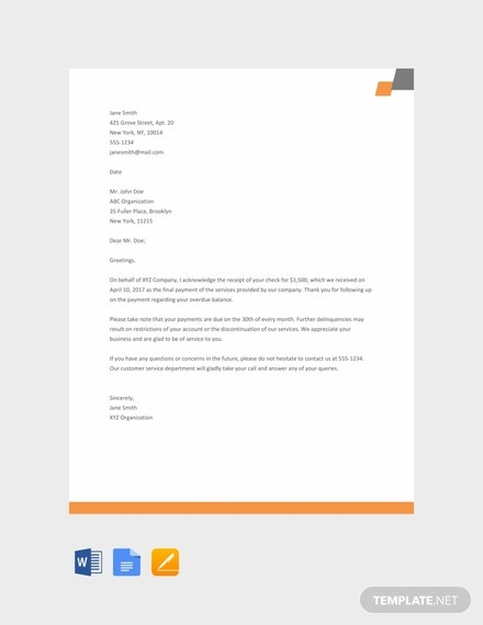 free acknowledgement letter sample 440x570 1