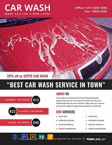 free car wash advertising flyer template