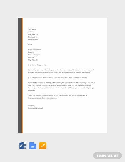 free complaint letter for poor service template 440x570 1