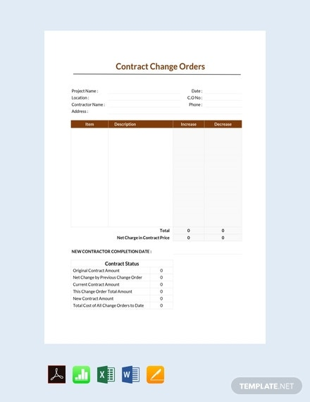 free contract change order template 440x570 1