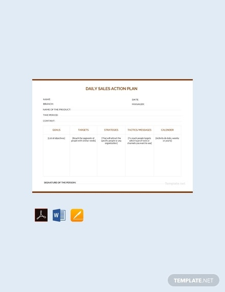 free daily sales action plan template 440x570 1