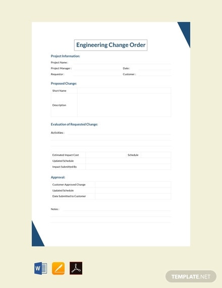 free engineering change order template 440x570 1