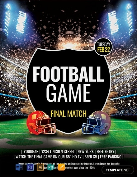 free football game flyer template 440x570 1