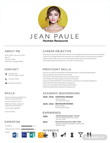 free hr fresher resume template 440x570 1