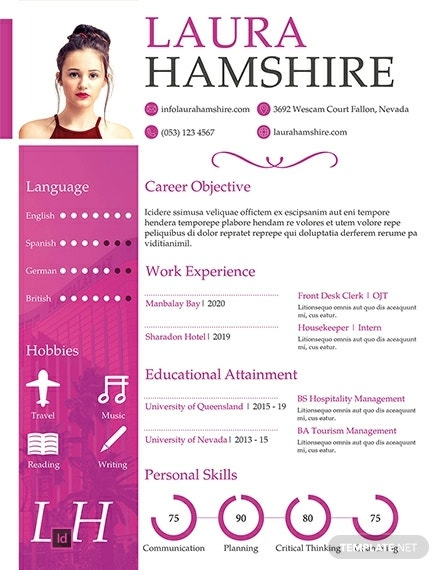 free hotel job resume for fresher template 440x570 1