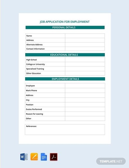 free job application for employment