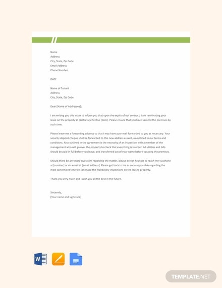 free landlord lease termination letter template 440x570 1