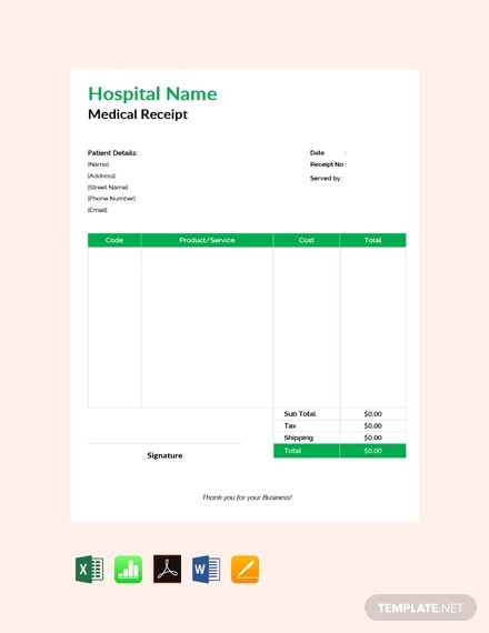 free medical receipt template 440x570 1