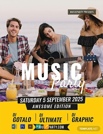 free music party flyer template 440x570 1