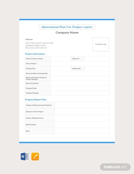 free operational plan for project report template 440x570 11