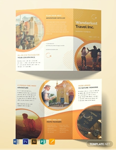 free printable travel agency brochure template