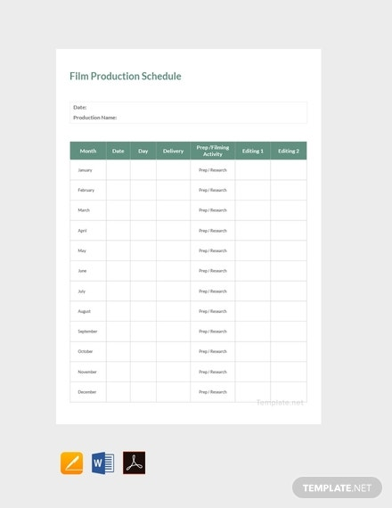 free sample film production schedule template 440x570 1