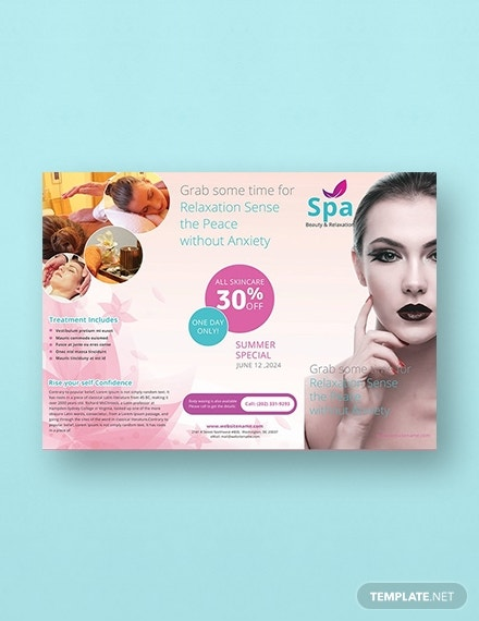 free spa tri fold brochure template 1x1