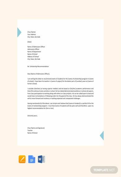 free student scholarship recommendation letter 440x570 1
