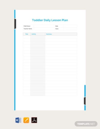 free toddler daily lesson plan template1