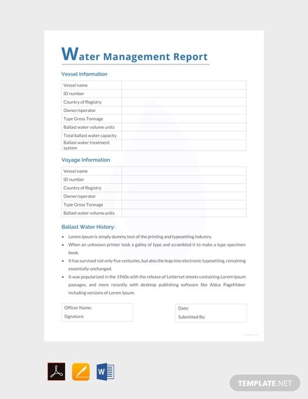 free water management report template 440x570 1