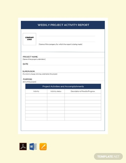 free weekly project activity report template 440x570 1