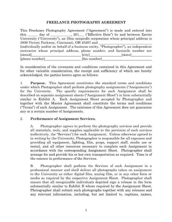 freelance photography agreement 1