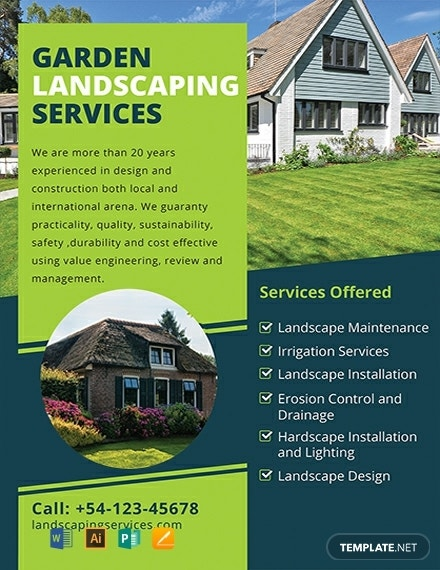garden landscaping business flyer layout