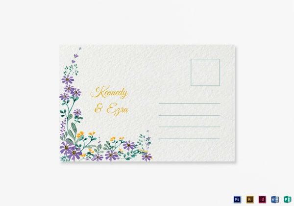 garden wedding postcard template