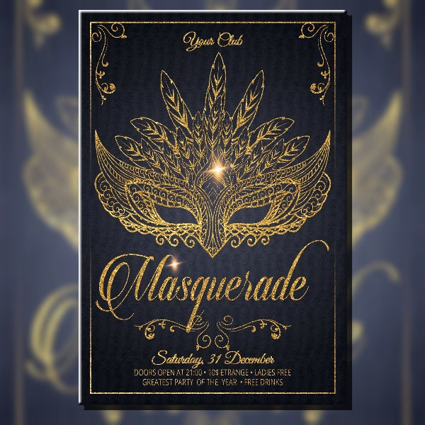 Glittery Masquerade Carnival Flyer Design