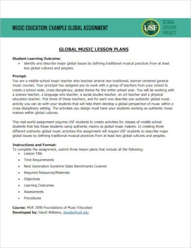 global music lesson plan template