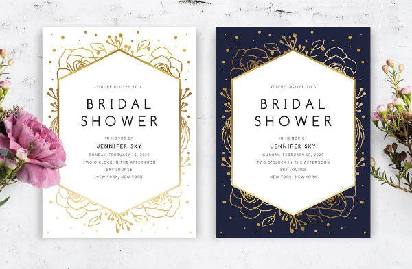 gold floral bridal shower invitation template