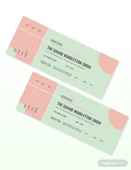 grand show admission ticket template