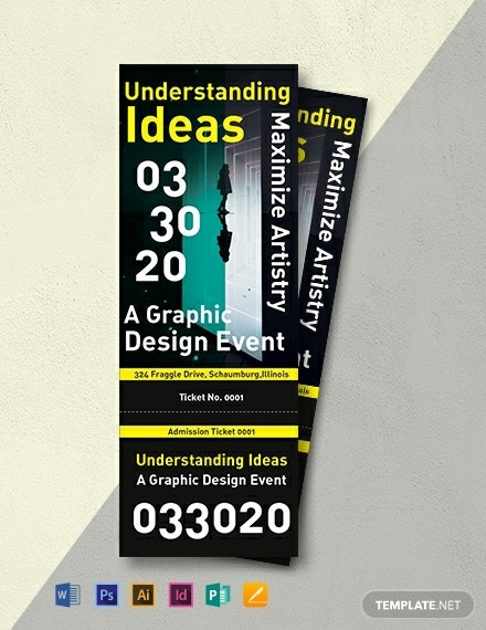 graphic design admission ticket layout