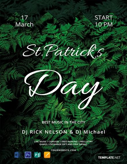 green leaves st patricks day flyer