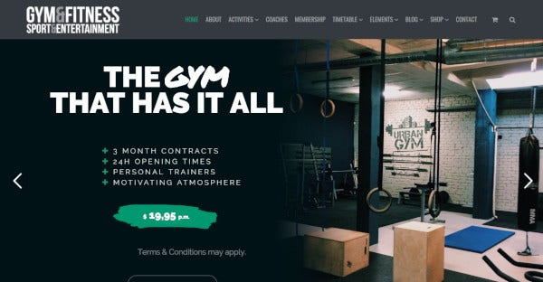 Gym & Fitness – Responsive WordPress Theme
