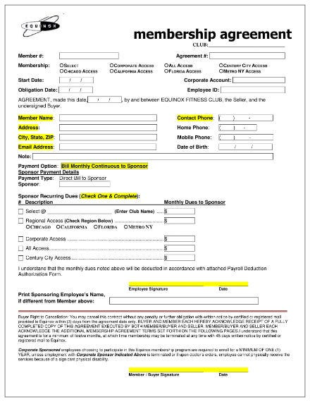 gym membership contract agreement template 1
