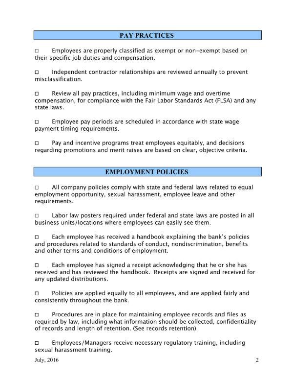 hr compliance checklist 2