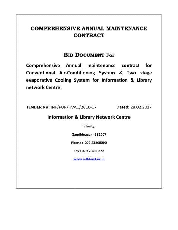 hvac system annual maintenance agreement 01