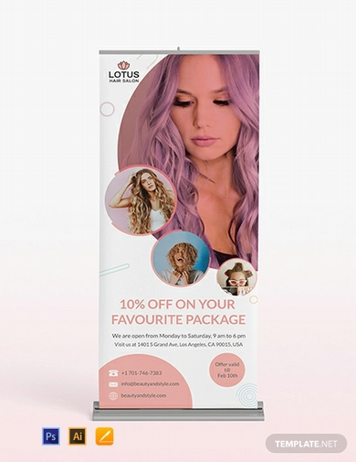 hair salon roll up banner template