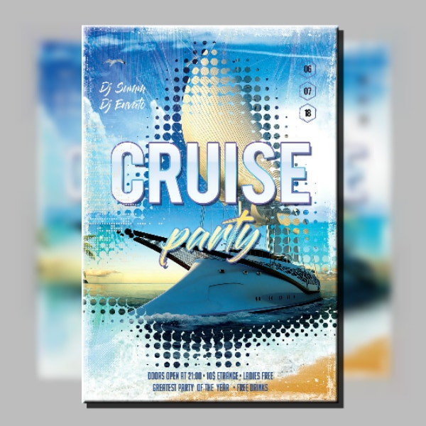 halftone cruise party flyer design