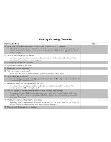 healthy catering checklist