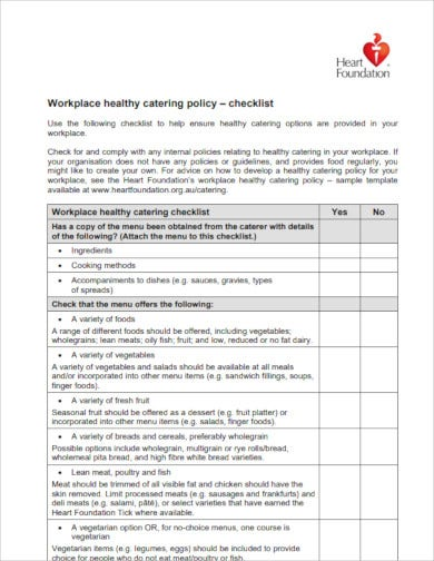 healthy workplace catering checklist