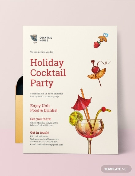 holiday cocktail party invitation sample